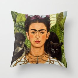 SELF PORTRAIT WITH THORN NECKLACE AND HUMMING BIRD - FRIDA KAHLO Throw Pillow