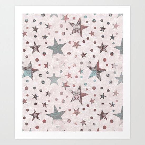 Pink Patchwork Stars Art Print