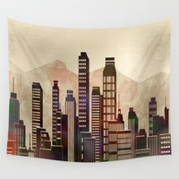 metal Wall Tapestries featuring Metal City - beige by Klara Acel
