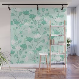 Vintage flowers in a green background Wall Mural