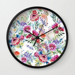 Watercolor Floral Pattern Wall Clock