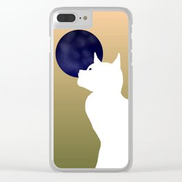 Moon and white cat Clear iPhone Case