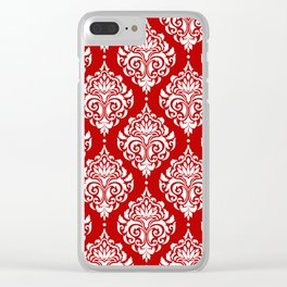 Red Damask Clear iPhone Case