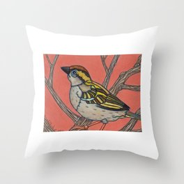 Sparrow in a Tree with Orange Sky, colored pencil, 2010 Throw Pillow