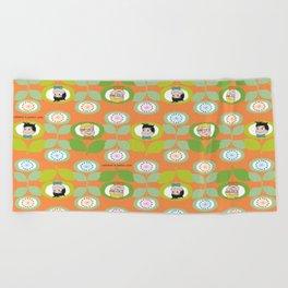 mabo & jimmy garden orange 2 Beach Towel