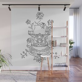 Antique Typewriter Entwined in Roses Wall Mural