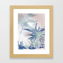 Navy Blue and Blush Pink Palm Leaf Watercolor Painting Framed Art Print