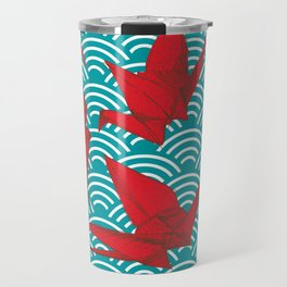 Origami red paper cranes sketch. burgundy maroon line Nature oriental Travel Mug