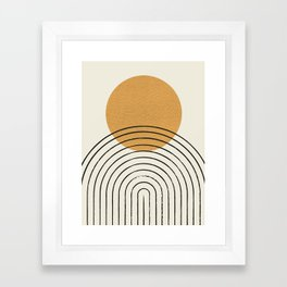 Gold Sun rainbow mid-century full Framed Art Print