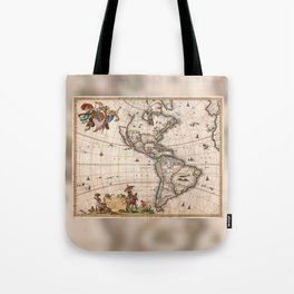 1658 Map of North America and South America with 2015 enhancements Tote Bag