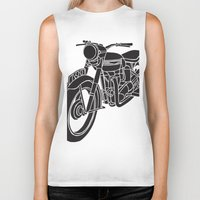 motorcycle Biker Tanks featuring Motorcycle by Gemma Bullen Design