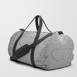 In Love Sparkling Glitter Hearts #3 (Faux Glitter) #silver #decor #art #society6 Duffle Bag