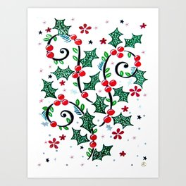 Christmas Curls Art Print