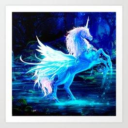 Unicorn Forest Stars Cristal Blue Art Print
