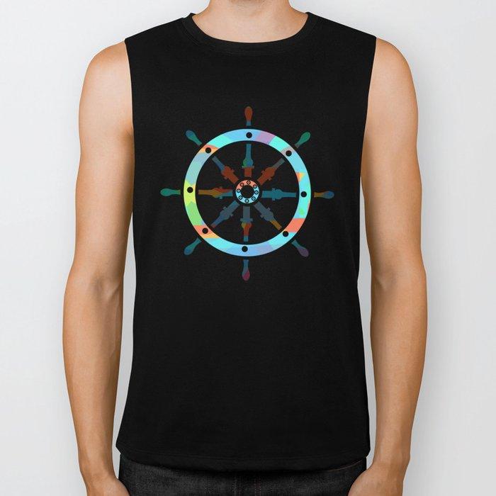 Ship's wheel on abstract marine background Biker Tank