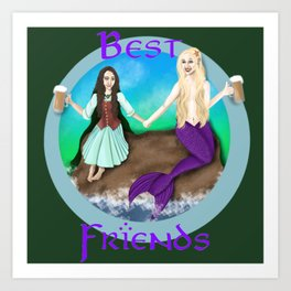 Hobbit and Mermaid Friends Art Print
