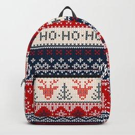 Ugly sweater Merry Christmas Happy New Year vintage nodric illustration knitted pattern folk style scandinavian ornaments. Ho Ho Ho. Raindeer. Heart. Backpack