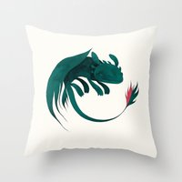 toothless Throw Pillows featuring toothless by yohan sacre