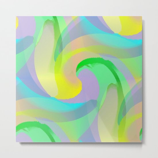 Soft Rainbow Abstract - Painterly Metal Print