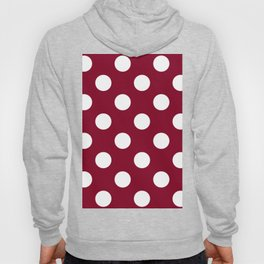 Large Polka Dots - White on Burgundy Red Hoody