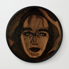 Fantasy wood face woman marquetry Wall Clock