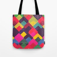 georgiana paraschiv Tote Bags featuring colour + pattern 11 by Georgiana Paraschiv