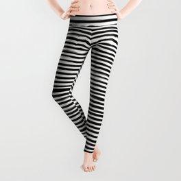 Skinny Stroke Horizontal Black on Off White Leggings