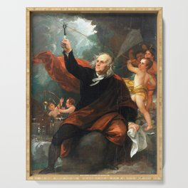 Benjamin West Benjamin Franklin Drawing Electricity from the Sky Serving Tray
