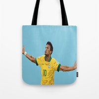 neymar Tote Bags featuring Neymar by Aaron Cushley