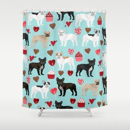 French Bulldog cupcakes valentines love hearts cute frenchie must have gifts Shower Curtain