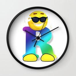 Letter R Alphabet Smiley Monogram Face Emoji Shirt for Men Women Kids Wall Clock