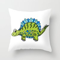 dinosaur Throw Pillows featuring Dinosaur by Peggy Cline