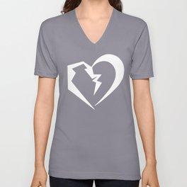 Heart white Unisex V-Neck