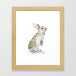 Bunny Rabbit Watercolor Framed Art Print