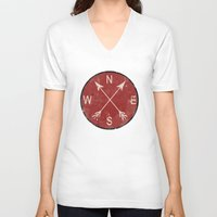 compass V-neck T-shirts featuring Compass by Duke Dastardly