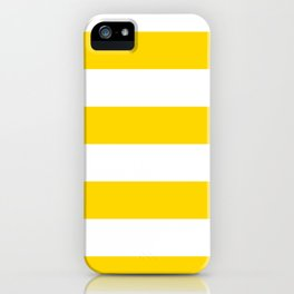 Wide Horizontal Stripes - White and Gold Yellow iPhone Case