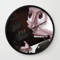 mario kart Wall Clocks featuring Mario Car by Crooked Octopus