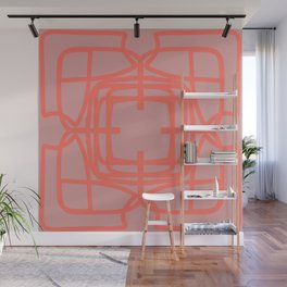 Medallion Pressed Rose & Living Coral Wall Mural