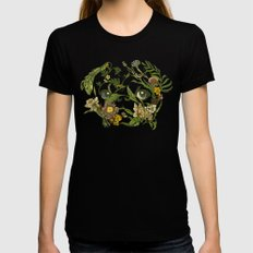 Botanical Pug Black LARGE Womens Fitted Tee