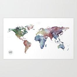 Lápiz Nómada World map Art Print