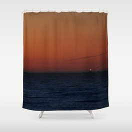 Lonely lighthouse at Dungeness Spit, WA Shower Curtain