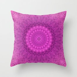 Sunflower Peacock Feather Bohemian Pattern \\ Aesthetic Vintage \\  Bright Fuchsia Pink Color Scheme Throw Pillow