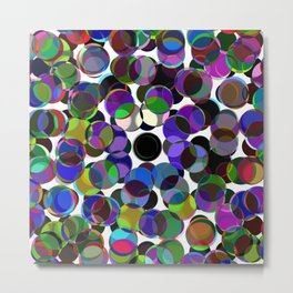 Cluttered Circles III - Abstract, Geometric, Pastel Coloured, Circle Patterned Artwork Metal Print