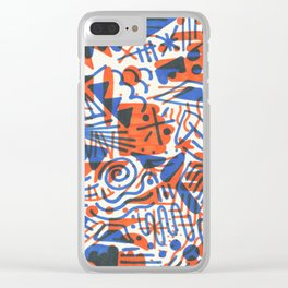 Abstract - Copenhagen and Vermillion Clear iPhone Case