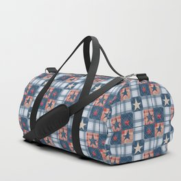 Blue denim plaid patchwork . Duffle Bag