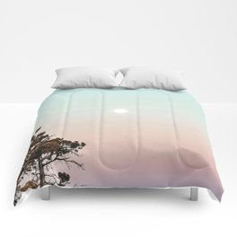 Rainbow Color Sunset // Incredible Clear Sky Photograph Through the Forest Trees Comforters