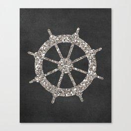 Nautical Silver Wheel Canvas Print
