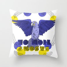 No More Ghosts - Glaucous Macaw Throw Pillow