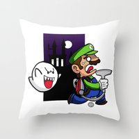 haunted mansion Throw Pillows featuring Haunted Mansion by phiROLL Art & Design