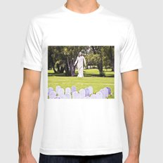 The reunión of life and life. White MEDIUM Mens Fitted Tee